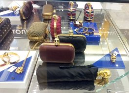 Selfridges - McQueen skull umbrella and clutch handbags
