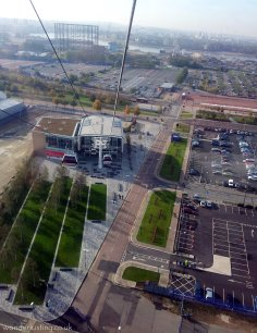 Cable car in to North Greenwich station