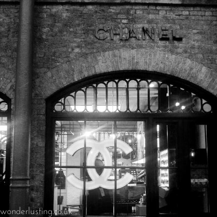 Chanel pop up Covent Garden b&w