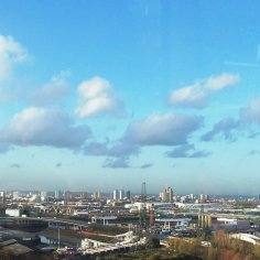 You can see the Olympic Park and Anish Kapoor's Olympic sculpture in the distance