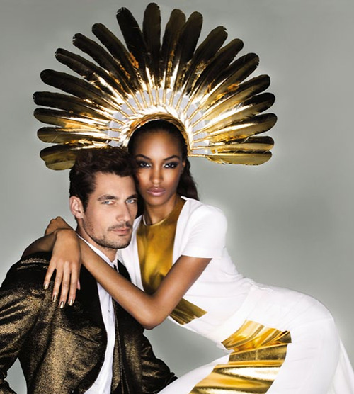 Stephen Jones headress on Jourdan Dunn