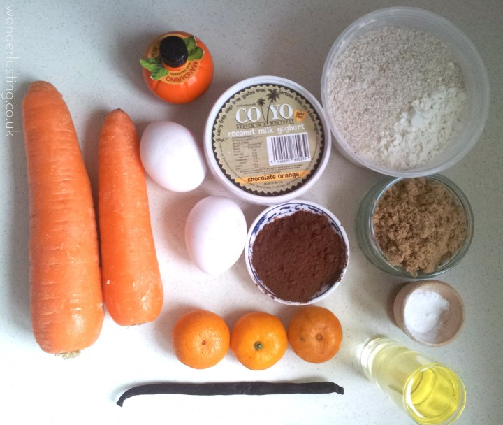 Choc,carrot, clementine cake ingredients