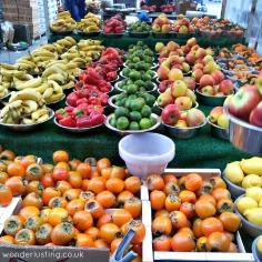 Lewisham market - kaki, limes, bananas