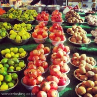 Lewisham market - pomegrantes, limes, kiwi