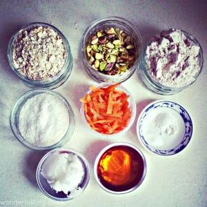 Carrot Pistachio Spelt Oat cookies ingredients