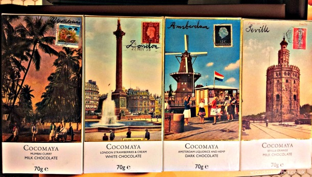 Cocomaya around the world chocolate bars - Mumbai, London, Amsterdam, Seville