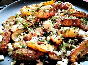 Cumin roasted tubers: Tubers taste like a cross between yam and plaintain. Served with a honey dressing and goats cheese
