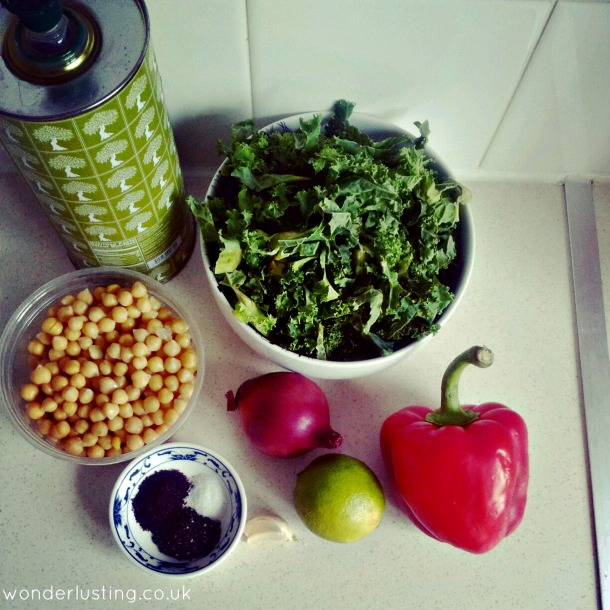Kale and chickpea salad ingredients