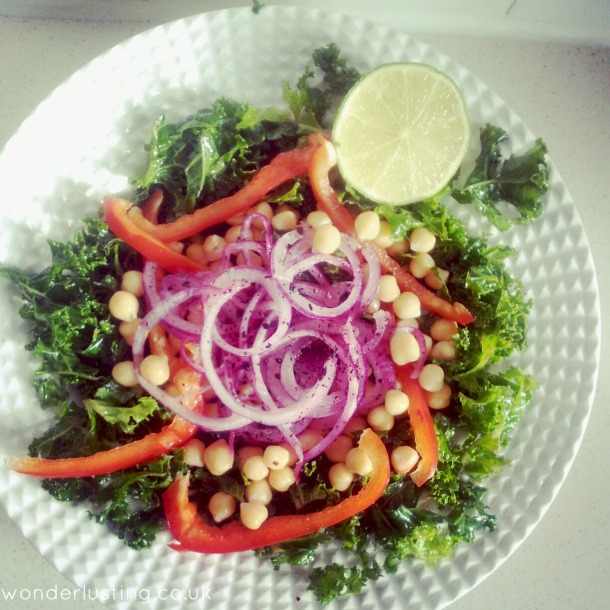 Kale, chickpea, red pepper & sumac salad