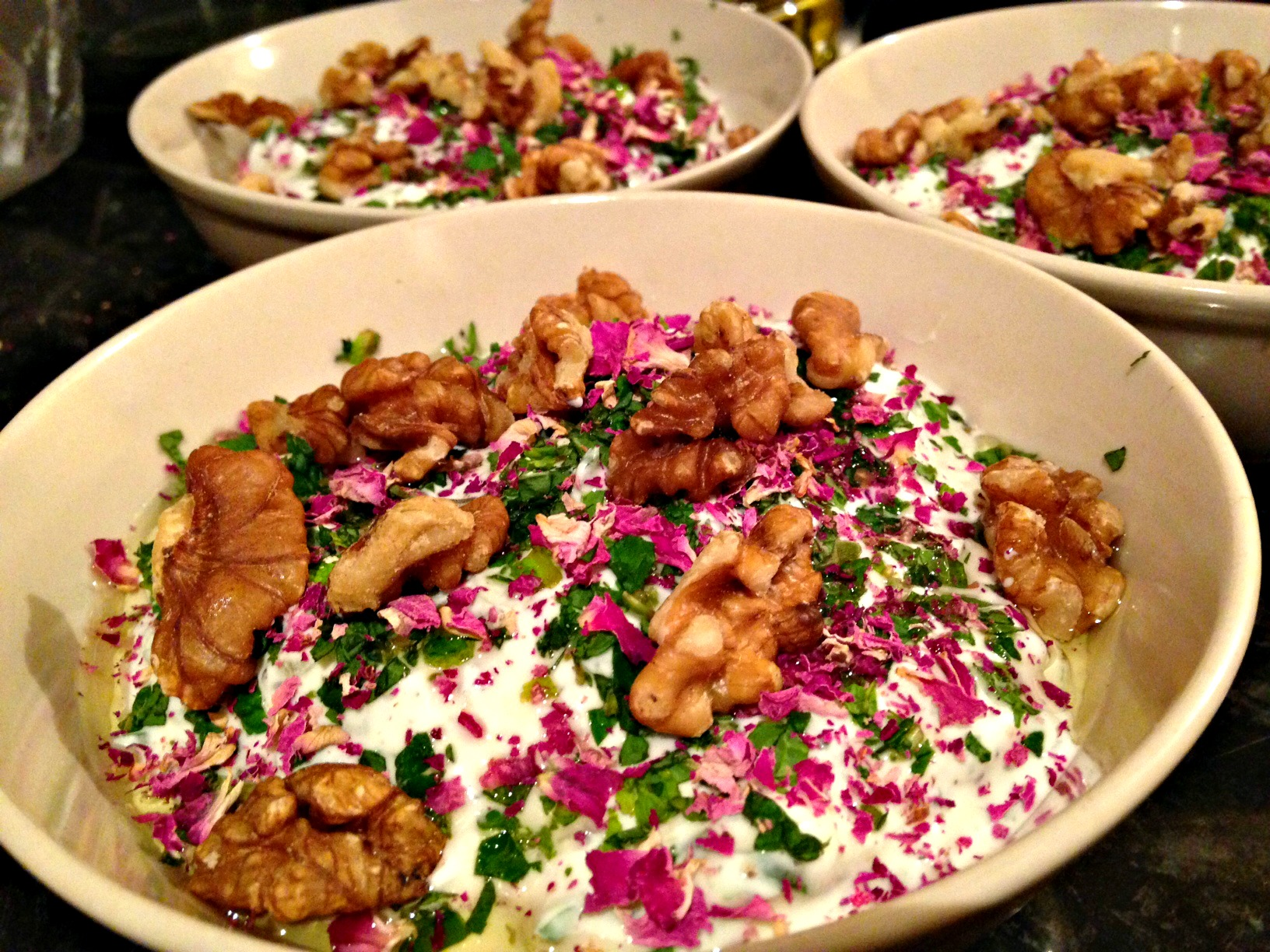 Maast-o-Khiar: yoghurt, cucumber and mint dip with walnut, herbs and rose petals