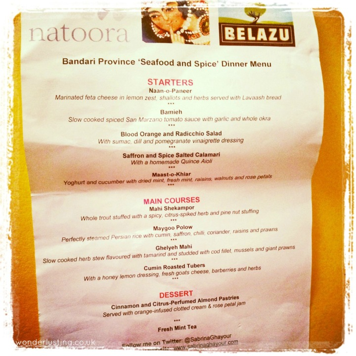 Seafood and Spice supperclub menu