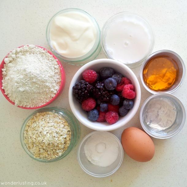Spelt oaf berry bread ingredients