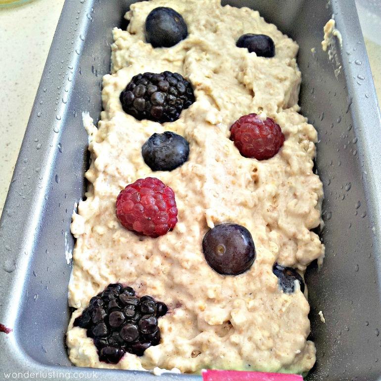 Spelt oat berry bread in tin
