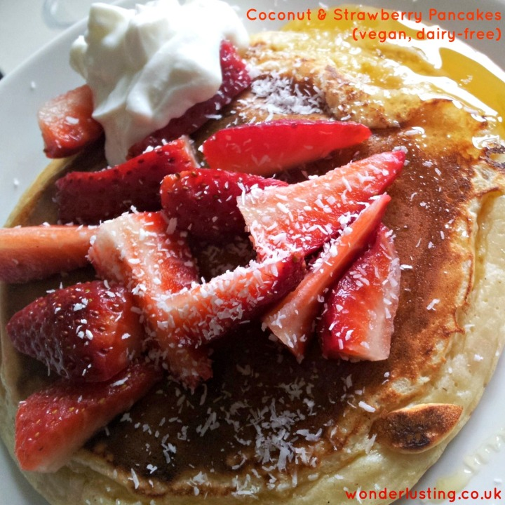 Coconut strawberry pancakes