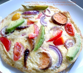 Recipe: Sweet Potato, Cherry Tomato & Avocado Omelette (vegetarian, gluten-free)