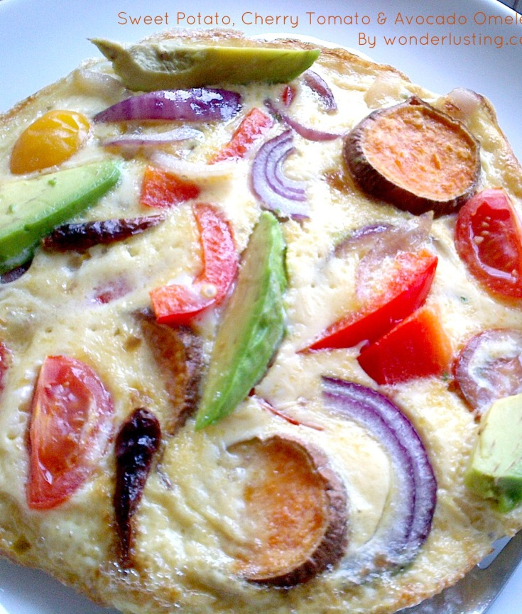 Sweet potato and avocado omelette