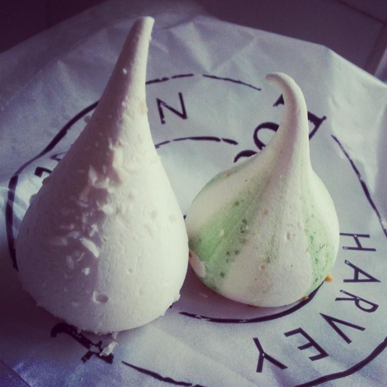 coconut. pistachio and rosewater meringue kisses