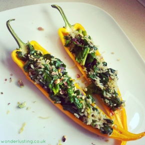 Yummy Healthy Eating: Recipe For Spinach & Pistachio Pilaf Peppers (vegan, vegetarian, gluten-free)