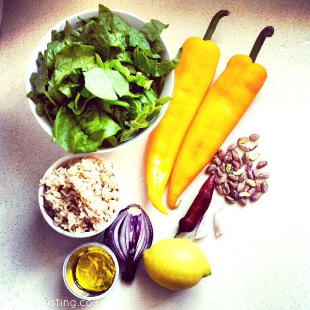Ingredients for spinach & pistachio stuffed peppers