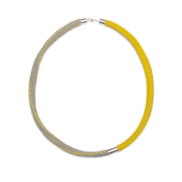 Eleanor Bolton sticthed grey yellow necklace