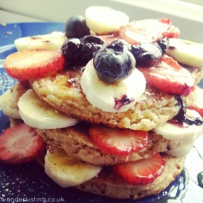 Recipe: Oat & Almond Pancakes with Banana & Berries (wheat-free, gluten-free, dairy-free)