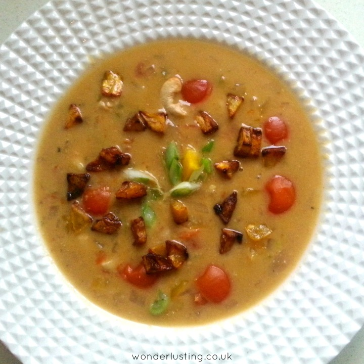 Spicy Cashew Soup with Plantain Croutons