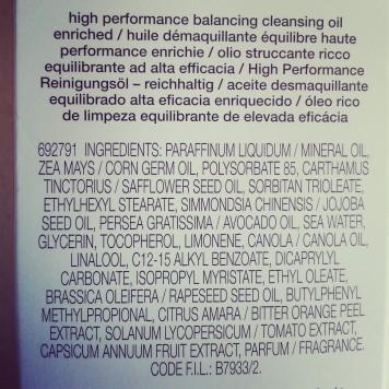 Shu Uemura High Performance Balancing Cleansing Oil ingredient list