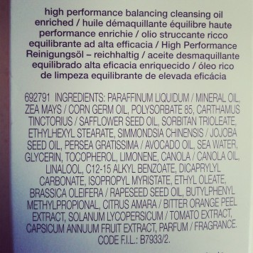 Shu Uemura High Performance Balancing Cleansing Oil ingredient list