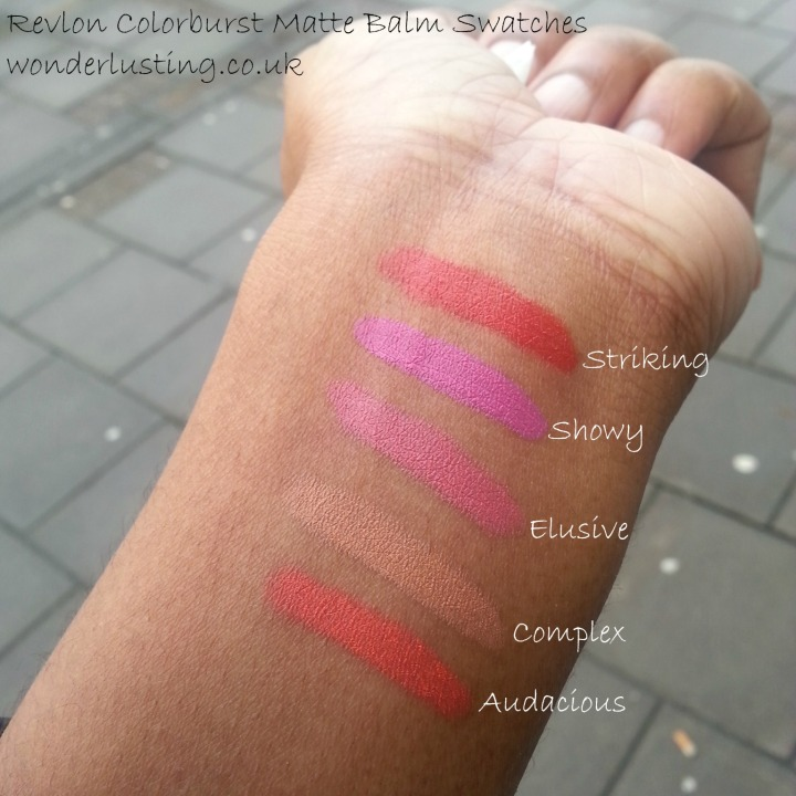 Revlon Colorburst Matte Balm Swatches on dark skin