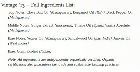 Abel Vintage '13 ingredients list