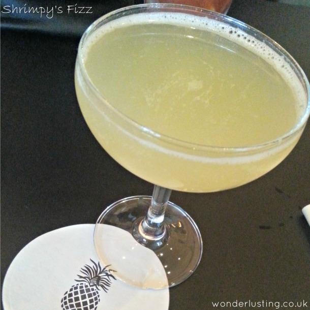 Shrimpy's Fizz (Cachacha, pineapple, lime juice, Cava)