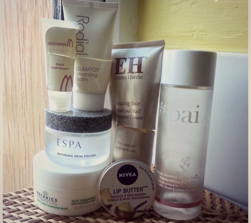 March empties, clockwise from bottom: - Boots Botanic Hot Cloth Cleansing Balm, ESPA butter vanilla & macadamia,