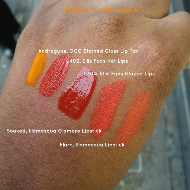 Ellis Faas, Illamasqua, OCC orange lipstick swatches