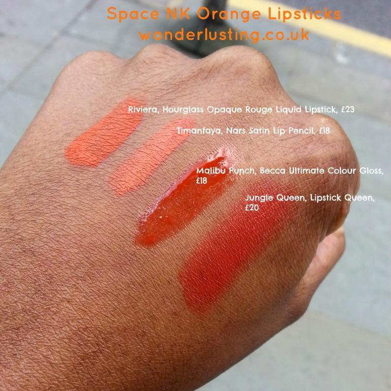 Hourglass_Nars_Becca_LipstickQueen_orange_lipstick