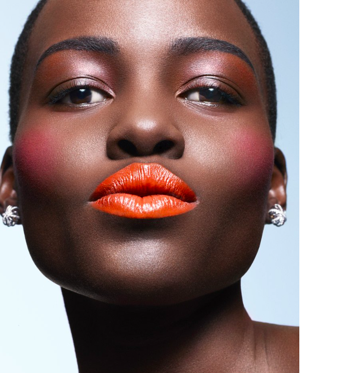 Lupita Nyong'o in Orange Lipstick Essence magazine