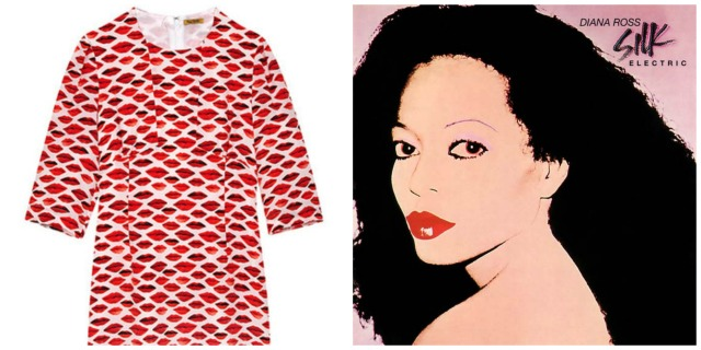 Lip print inspired by Andy Warhol's album cover for Diana Ross Silk Electric