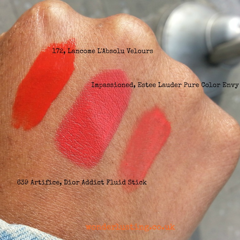 Department store orange lipsticks