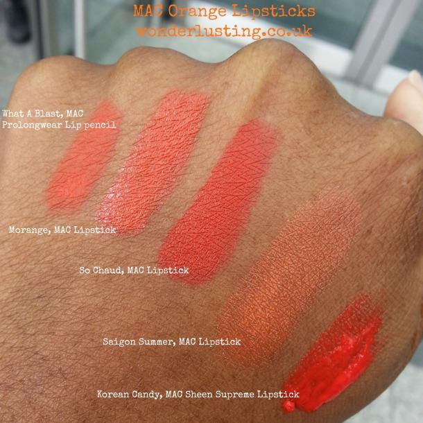 MAC Cosmetics orange lipsticks