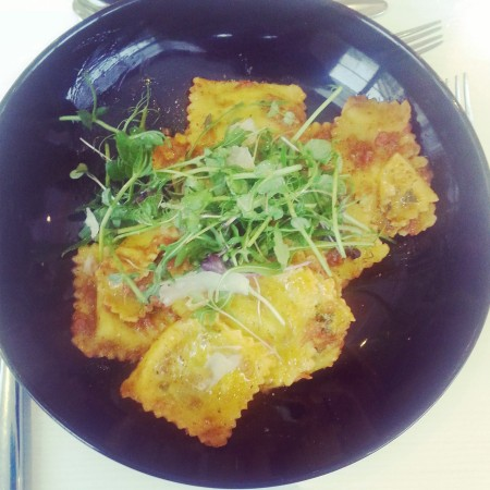 Main course - spinach and ricotta ravioli