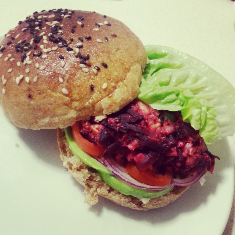 beetroot halloumi burger