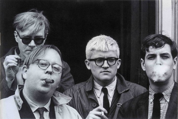 Andy Warhol, Henry Geldzahler, David Hockney and Jeff Goodman, 1963 © Dennis Hopper, courtesy The Hopper Art Trust. www.dennishopper.com