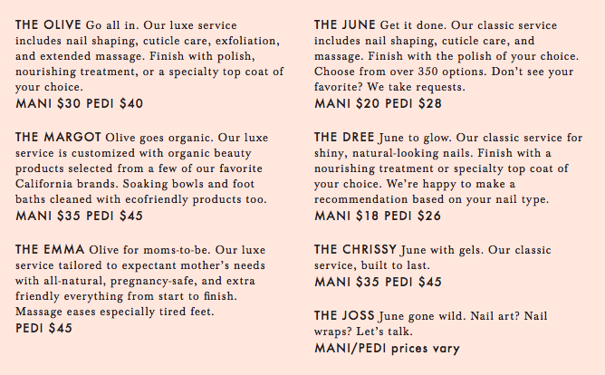 Olive & June menu