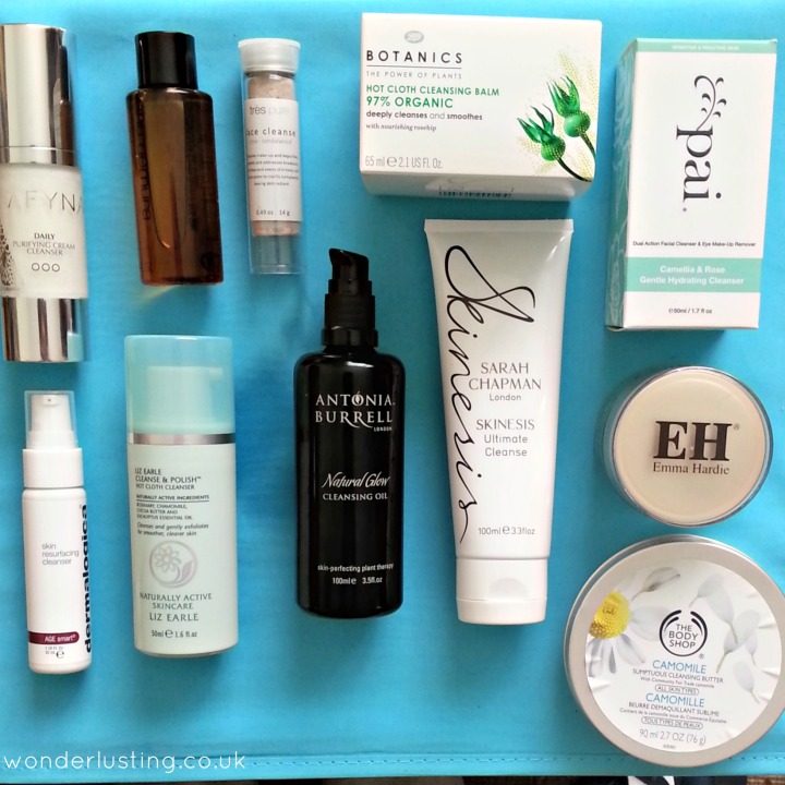 Top row: AFYNA cream cleanser, Shu Uemura Ultim8 beauty cleansing oil, Tres Pure cleanser, Boots Botanics Hot Cloth 97% organic cleansing balm, Pai cream cleanser Bottom row: Dermalogica, Liz Earle, Antonia Burrell, Sarah Chapman, Emma Hardie, The Body Shop
