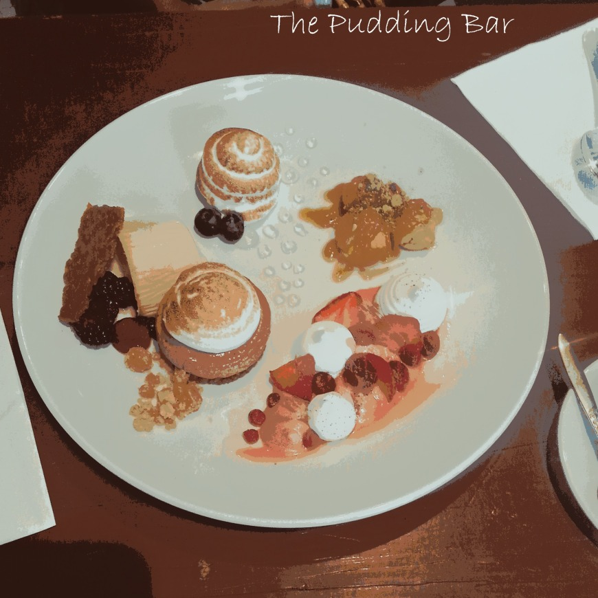 The Pudding Bar Taster for Two: Baked Alaska, Choux Buns, Strawberry Eton Mess, Smores Cheesecake with peanut ice-cream, Earl Grey Panna Cotta