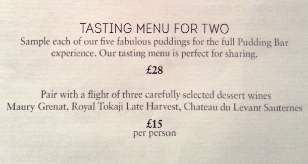 The Pudding Bar menu