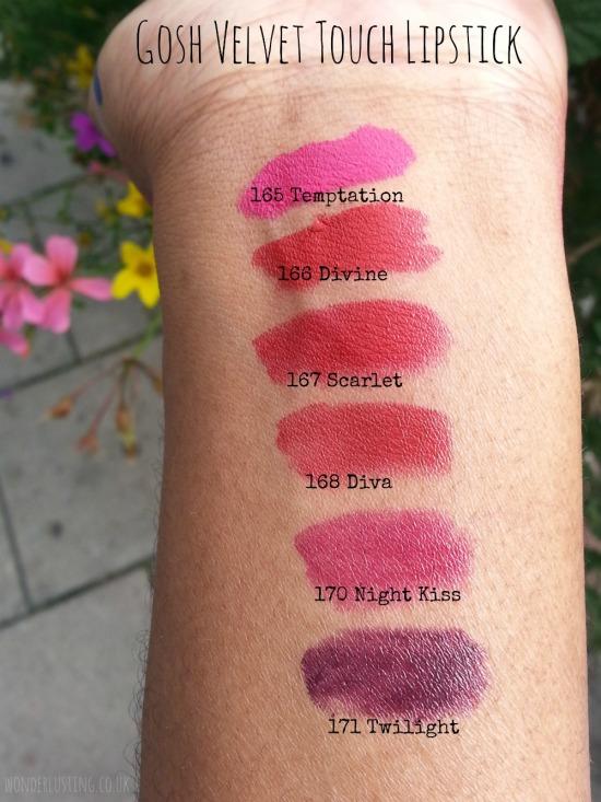 GOSH Velvet Touch lipstick swatches