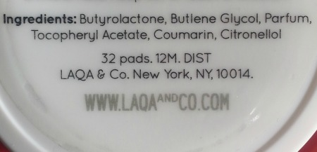 LAQA & Co nail polish remover pad ingredients list