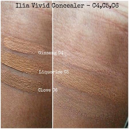 Ilia Vivid Concealers - darkest shades swatched