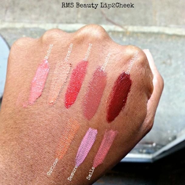 RMS beauty lip2cheek swatches on dark skin