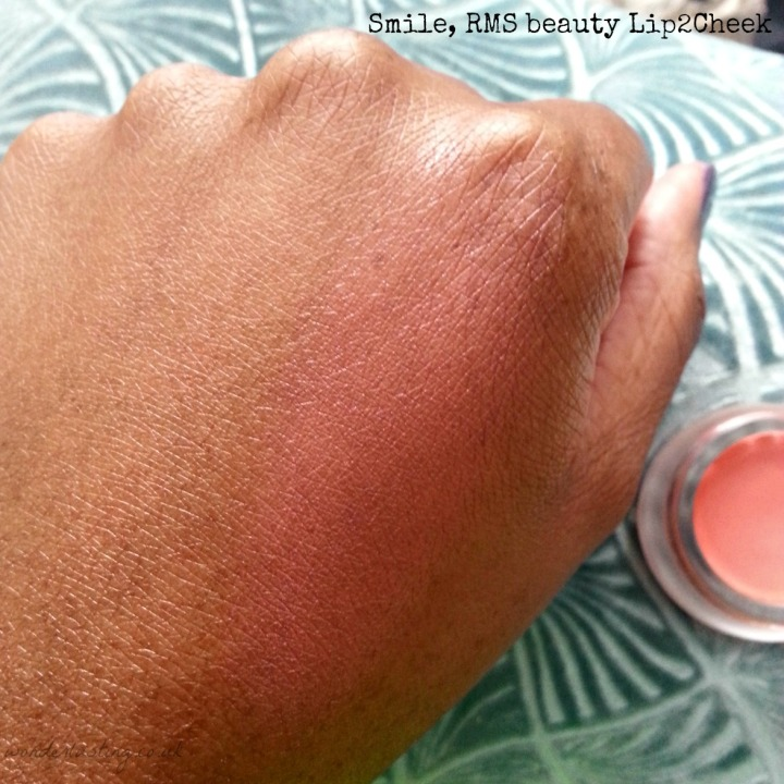 Smile, RMS lip2cheek swatch on dark skin